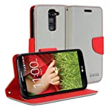 LG G2 Mini Case, GMYLE(R) Wallet Case Classic for LG G2 mini - Silver Grey & Red Cross Pattern PU Leather Slim Wallet Case Flip Stand Cover(Not Fit For LG G2)