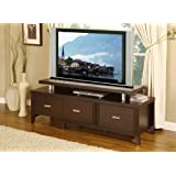 Wood Cappuccino 60 inch Expandable TV Stand Entertainment Console