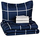 AmazonBasics 5-Piece Bed-In-A-Bag - Twin/Twin XL, Navy Simple Plaid