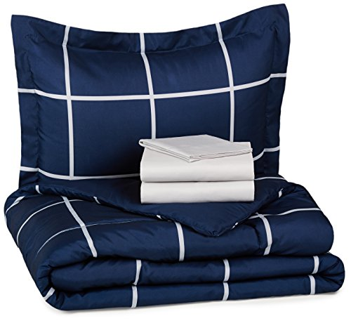 For Sale! AmazonBasics 5-Piece Bed-In-A-Bag - Twin/Twin XL, Navy Simple Plaid