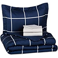 5-Piece AmazonBasics Twin Bed-In-A-Bag (Navy)
