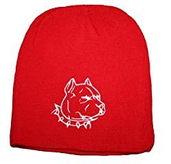 Pit Bull Head Beanie - Adult (Red)