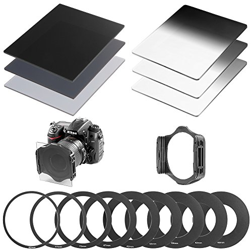 Neewer® Complete Neutral Density ND Filter Kit for Cokin P Series, Kit includes: (3)Full ND Filters (ND2, ND4, ND8) + (3)Graduated ND Filters (G.ND2, G.ND4, G.N8) + (9)Metal Adapter Rings (49mm, 52mm, 55mm, 58mm, 62mm, 67mm, 72mm, 77mm, 82mm) + (1)Square Filter Holder + (1)Filter Carrying Pouch
