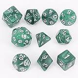 lzwin 10piezas Set Polyhedral dados Kit con bolsa de portátil para juego de mesa