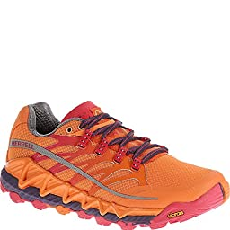 Merrell Women\'s All Out Peak Trail Running Shoe,Orange/Parachute Purple,7 M US