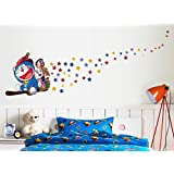 Oren Empower Doraemon Night Glowing Colorful PVC Vinyl Large Wall Sticker