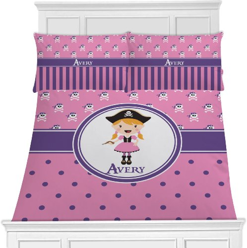 Personalized Pink Pirate Bedding For Girls - King front-825514