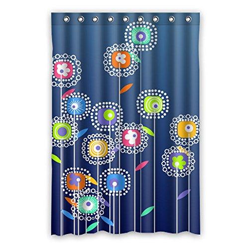 """Minimalista stile Cartoon fiori vari colori di acquerello fiori sfondo è il colore del denim disegno poliestere tessuti impermeabile bagno tende da doccia 120 cm x183 cm (48 """"X72""""), 12 anelli per tende."""