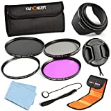 K&F Concept 52mm UV CPL FLD ND4 Lens Accessory Filter Kit UV Protector Circular Polarizing Filter Neutral Density Filter for Nikon D5300 D5200 D5100 D3300 D3200 D3100 DSLR Cameras + Microfiber Lens Cleaning Cloth + Flower Petal Lens Hood + Center Pinch L