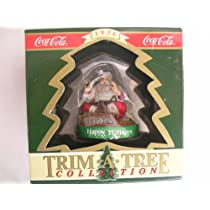 Coca-Cola Trim a Tree Collection Christmas Ornament ; Santa with Train Happy Holidays