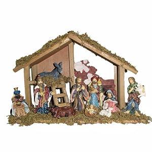 Kurt Adler Wooden Stable with 10 Resin Figures Nativity Set