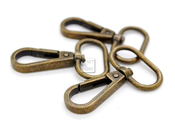 CRAFTMEmore 3/4 1 or 1-1/4 Push Gate Lobster Clasps Hooks Swivel Snap Fashion Clips Best Price Pack of 10 (Antique Brass, 1-1/4 Inch) (Color: Antique Brass, Tamaño: 1-1/4 Inch)