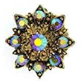 Brooches Store Small Topaz Gold & AB Crystal Starburst Snowflake Flower Brooch