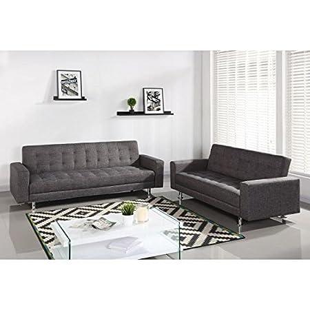 Luxury ensemble canapés droits convertibles 3 et 2 places - 220x82x80 cm et 187x82x80 cm - tissu gris