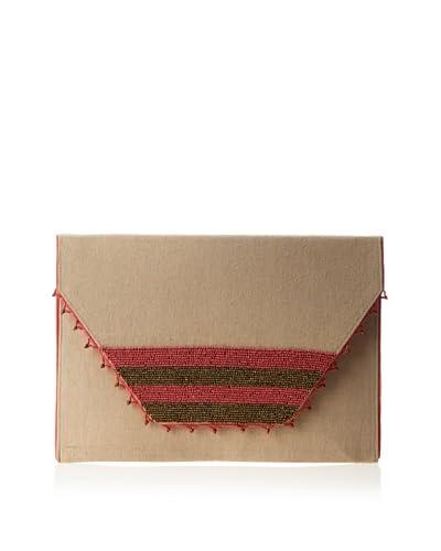 Nila Anthony Women's Oversized Beaded Clutch, Pink