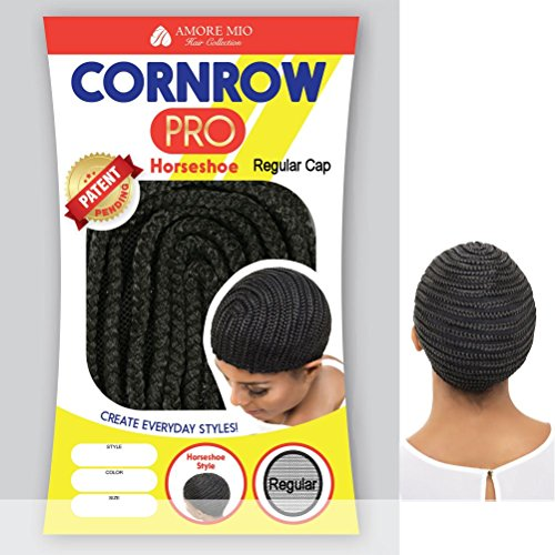 [Amore Mio - CORNROW PRO CAP - Horseshoe SMALL Mesh Weave Cap in OFF BLACK] (Cornrow Wigs)