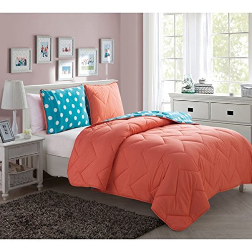 Reversible 3 Piece Full Kids Coral Bedding