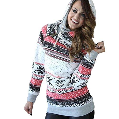 Fheaven Women Long Sleeve Christmas Hoodie Sweatshirt Jumper Sweater Hooded Pullover (Size:S, White)