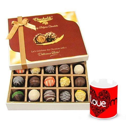 Valentine Chocholik Belgium Chocolates - Flavourful Truffles Collection With Love Mug