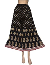 The Jaipur Bazar Women's Reyon Jaipuri Long Skirt Black With Golden Print - B06XZ6WSX9