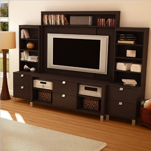 Delano TV Stand with Hutch and 2 Media Towers - Chocolate