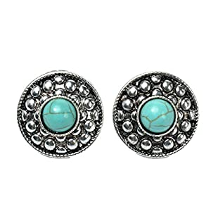 TS Vintage Ethnic Round Turquoise Stud Earrings