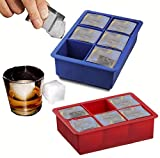 Silicone 2 Inch Cube Mold Ice Cube Tray (Set of 2, 1 Blue and 1 Red, 6.25 X 4.35 X 2 Inches) Flexible, Durable, BPA Free
