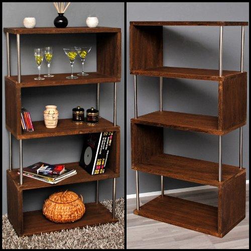Libreria da parete, mobile divisorio, scaffale per ufficio, mobile portaoggetti a ripiani, color rovere chiaro. Nuovo. Altezza 126 centimetri