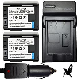 Two Halcyon 1500 mAH Lithium Ion Replacement Battery and Charger Kit for Canon 32GB VIXIA HF G20 Full HD Camcorder and Canon BP-808