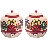 Organic And More Earthen Pot With Tap & Cover, 14 Liters, Set Of 2 , White