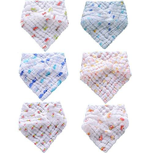 Lucear Bavaglini Neonato Bandana Bambini Saliva 100% Cotone di Mussolina Set da 6 pezzi Regolabile Asciugamani Assorbente