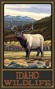 Northwest Art Mall Idaho Elk by Paul A Lanquist Wall Decor, 11-Inch by 17-Inch