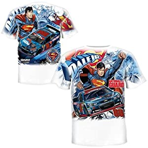 NASCAR Dale Earnhardt Jr. #88 Superman Total Print White Adult T-Shirt by Chase Authentics