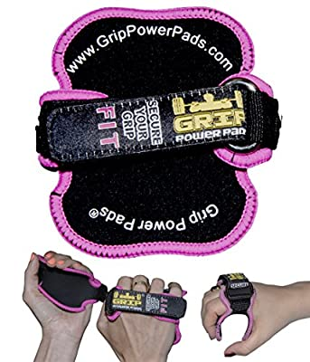 Women's PRO Pink Style Training Workout Grip Gloves | Gym Glove Alternative | Grip Power Pads® FIT | Lifting Grips | Patented Hand Grip Technology Best Neoprene Padded Lifting Pads from Grip Power Pads®