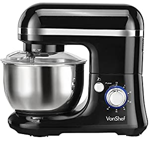 VonShef Electric Food Stand Mixer, Free 2 Year Warranty with Dough Hook, Beater, Whisk & Splash Guard - Black by VonShef