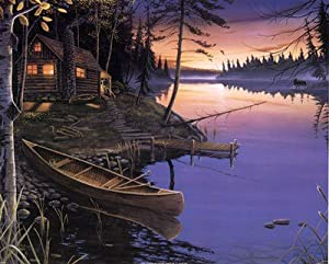 (16x20) Ervin Molnar Canoe at the Cabin Nature Print Poster