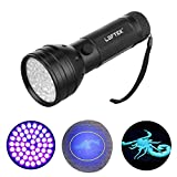 LOFTEK® 51 UV Ultraviolet Flashlight 395 nM LED Handheld Blacklight Perfect Urine and Bed Bug Detector,Scorpion Hunting Light 3 AA Battery,30 Days Money Back Guarantee