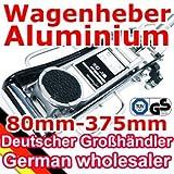 [TT6913G] [schwarz] Aluminium Wagenheber 1,5T 80mm - 375mm, mit TÜV GS für Racing-Sportwagen, Rennsport