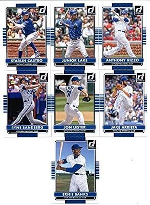 2015 Donruss Baseball Cards Chicago Cubs Series 1 Team Set of 7 Cards: Anthony Rizzo , Junior Lake , Starlin Castro , Jake Arrieta , Jon Lester , Ryne Sandberg , Ernie Banks