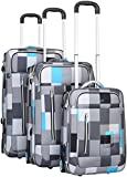 Trolley - Koffer PURE Karo - blau/grau 3-teiliges Set