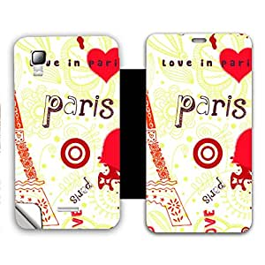 Skintice Designer Flip Cover with a hi-res printed Vinyl Wrap-around for Micromax Canvas Doodle 3 A102 , Design - Love In Paris