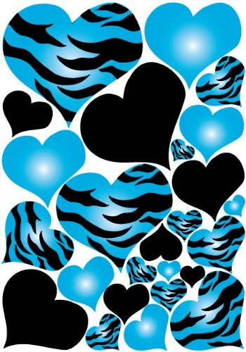 Turquoise blue radial hearts zebra print wall sticker decals