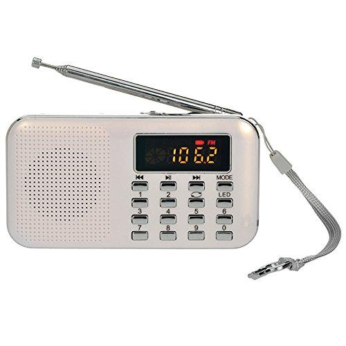 iMinker Mini portatile digitale AM   / FM dell'altoparlante di mezzi di musica MP3 Player di sostegno TF / porta USB con schermo di visualizzazione del LED, torcia elettrica di emergenza, 3.5mm Jack (bianca)