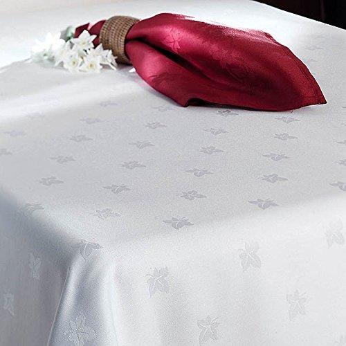 """Tischdecke, Motiv Efeublatt, Weiß, 100% ägyptische Baumwolle, alle Größen, Textil, weiß, 35""""x35"""" (90 x 90cm)"""