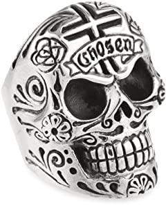 King Baby Men's Large Skull Ring with Chosen Cross Detail, Size 10