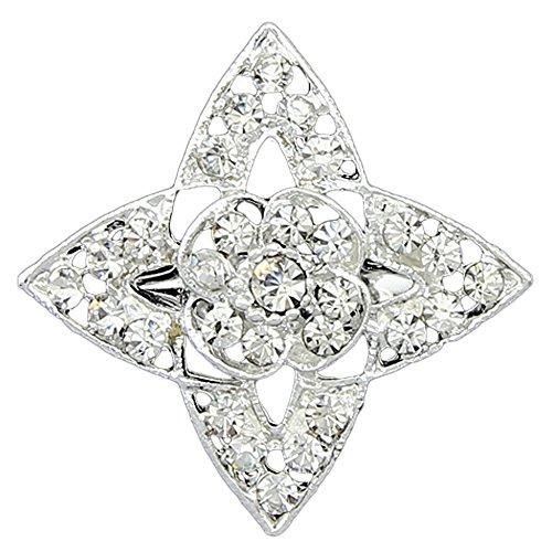 [Danbihuabi 12pc Lot Silver Plated White Crystal Rhinestone Star Brooch] (Vintage Costume Jewelry Lot)