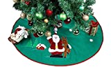 """Imperial Home Christmas Tree Skirt 36"""" - Green With Santa"""
