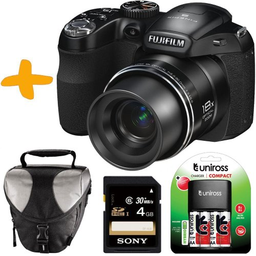 Bundle: Fuji S2980 Digital Bridge Camera +Sony 4GB +Case +Batteries & Charger (Fujifilm Finepix S2980 Black Friday & Cyber Monday 2014