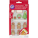Wilton Industries 710-3472 12 Count Christmas Gingerbread Icing Decorations