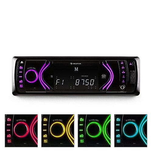 Auna-MD-130-Autoradio-Bluetooth-Autoradio-mit-SD-Kartenslot-USB-Slot-AUX-IN-mit-Freisprecheinrichtung-via-Bluetooth-7-Farbmodi-abnehmbares-Bedienteil-schwarz